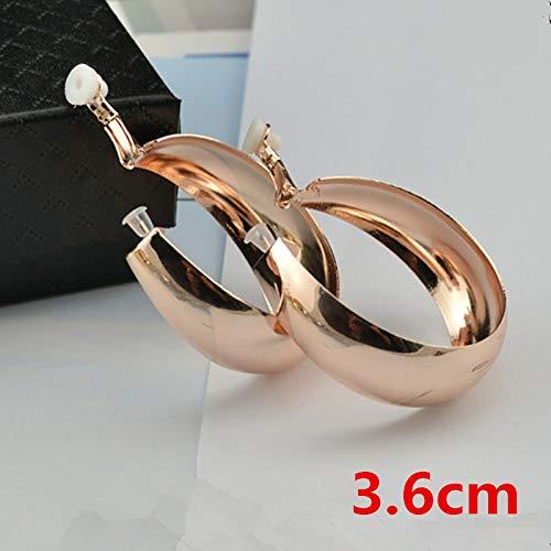 ammyus Clip Earrings - Big Circle Clip on Ear Without Piercing No Ear Hole Women's Earrings Fashion Jewelry Rose Gold Silver Loop Ladies Clip Earrings 1 ()