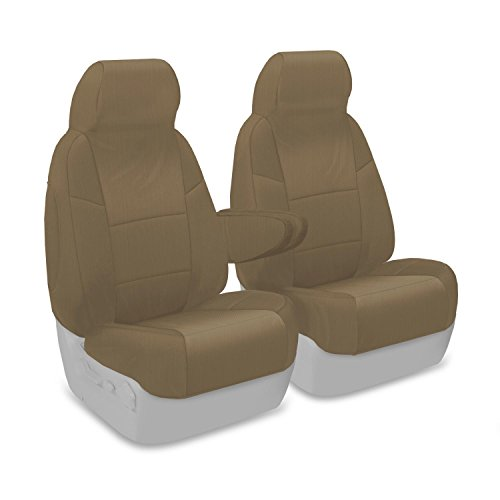 Coverking Custom Fit Front 50/50 High Back Bucket Seat Cover for Select Ford F-Series Models - Polycotton Drill (Cashmere)