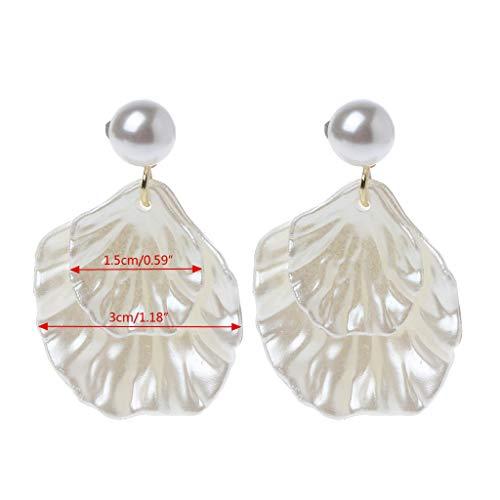 Kofun Earrings, Mother of Pearl Double Carve Shell Leaf Dangle Hook Earrings Silver Tone Jewelry