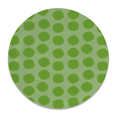 YOLIYANA Lime Green Ceramic Decorative Plate,Simplistic Formless Geometric Shapes in Different Shades Kids Nursery Theme Decorative for Home Décor,6 inch