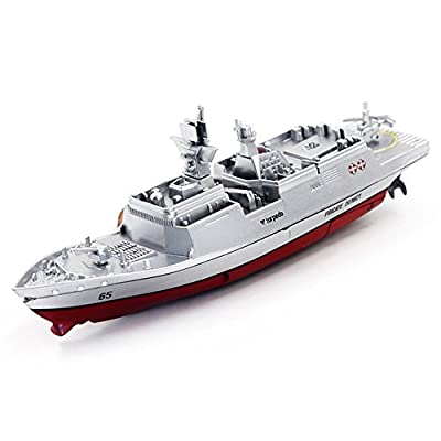 Qiyun2.4G Remote Control Military Warship Model Electric Toys Waterproof Mini Aircraft Carrier/Coastal Escort Gift for Kids Silver coastal escort