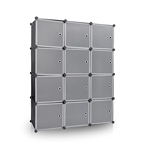 Newdora 12 Cube Multi Use DIY Plastic Wardrobe Portable Closet Organizer, Bookcase, Storage Cabinet, Wardrobe Closet Black with White Doors, Large Space and Sturdy Construction