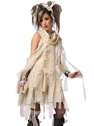 Mummy Costume 2 Piece Set Shredded Off White Dress with Matching Neck Bandages Sizes: (Cute Modest Halloween Costumes)