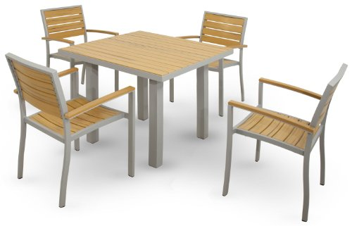 Ivy Terrace IVS114-1-11NT Basics 5-Piece Dining Set, Textured Silver