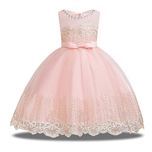 HUANQIUE Girls Pageant Flower Girl Dress Sleeveless Wedding Party Dresses Pink 4-5 T ()
