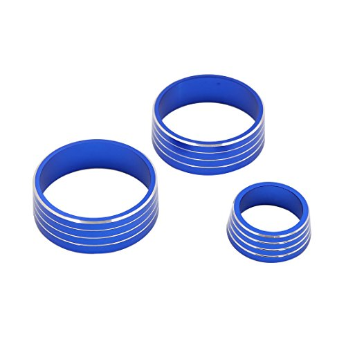 uxcell 3pcs Blue Air Condition Audio Switch Decorative Ring Set for Honda City XRV by uxcell (Image #3)