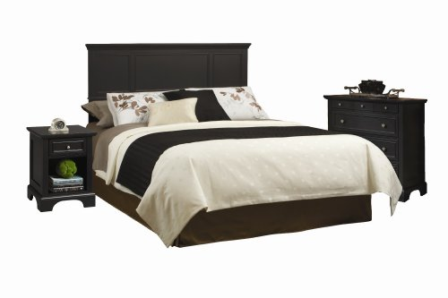 Home Styles 5531-5012 Bedford Queen Headboard, Nightstand and Chest, Black Ebony Finish -