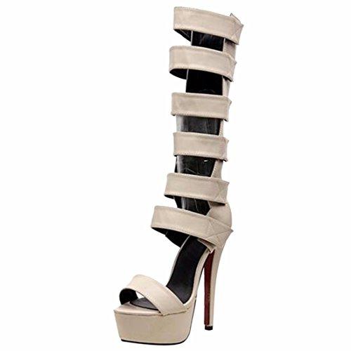 Ouvert Talons Gladiator Femmes Hautes Creux Orteil Qiyun D'ete Genou Sandales Romaines Chaussures Les Abricot z Aiguilles qRwnT7Y