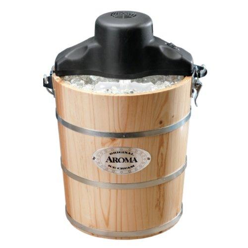 Aroma Housewares AIC-204EM 4-Quart Wood-Barrel Ice-Cream Maker, Natural Wood