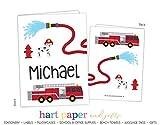 Firetruck Fire Truck 2 Pocket Folder Gift Name Back to School Supplies Teacher Office Birthday Girl Kids Custom Personalized Custom
