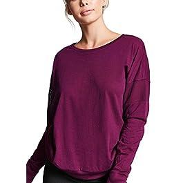 Women's Plain Long Sleeve T Shirt Top Loose Yoga Tops Gym Sports