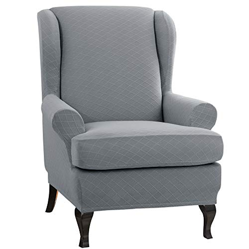 CHUN YI 2-Piece Rhombus Jacquard Wing Chair Cover,Universal Wing Back Wingback Armchair Covers Chair with Arms Slipcovers Furniture Protector (Light Gray)