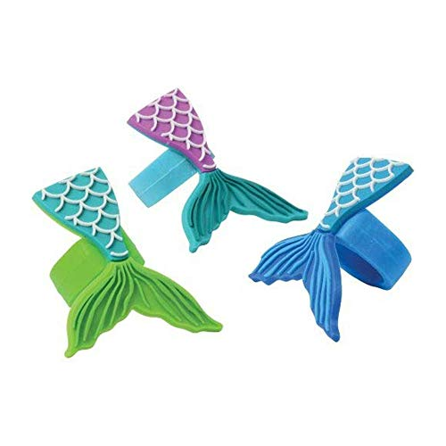 Mermaid Fish Tail Rubber Rings Party Favor Toy - 12 Piece Set
