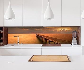 Aufkleber Küchenrückwand Steg Holz Pier Meer Sonnenuntergang ...