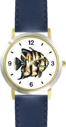 18a Blue Angels - Striped White & Tan Angel Fish Animal - WATCHBUDDY DELUXE TWO-TONE THEME WATCH - Arabic Numbers - Blue Leather Strap-Size-Women's Size-Small