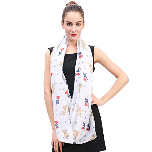 Lina & Lily I Love Chihuahua Dog Print Infinity Loop Scarf for Women (White) by Lina & Lily (Image #2)