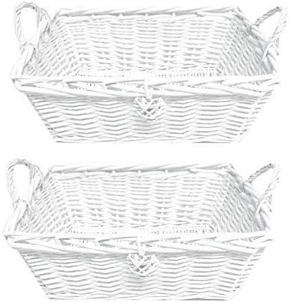 topfurnishing Blanco Rectangular Infantil Guardería Bebés Mimbre Cesta Almacenaje Caja de Juguetes Organizador Decoración Regalo - Blanco, Conjunto de 2 Grande: Amazon.es: Hogar