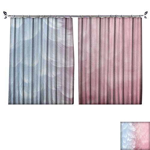 DESPKON Active Printing Fabric Polyester Material Fluffy Elegant Serenity Blue Feather on Rose Quartz Pink Soft Focused Background Fashion for Cartoon Children's Room W96 x L108