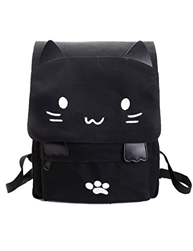 JJAI Black College Cute Cat Embroidery Canvas School Laptop Backpack Bags For Women Kids Plus Size Japanese Cartoon Kitty Paw Schoolbag Ruchsack Girls Boys Outdoor Accessories Daypack Bookbag (white) -