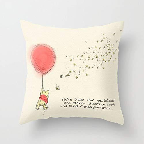 Decorative Cushion Cover Soft Cotton Outdoor Throw Pillow Case for Sofa Bedroom Home Office Car Decor Square 18x18 Inch - Winnie The Pooh