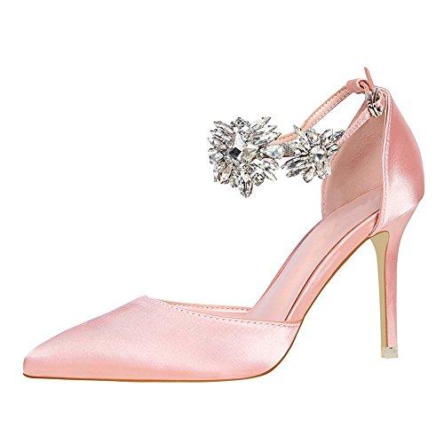 Mode De Rose Ronds Femmes Pour Talons Chaussures Femme Talons Féminine Confortables À Élégantes Escarpins Bouts Soirée Mince Élégant vxqOxT