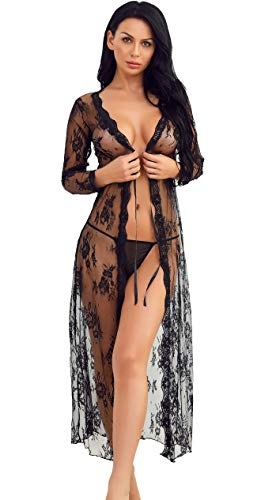 Women Lingerie Robe Long Lace Dress Sheer Gown See Through Kimono(Black, L)