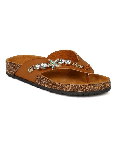 Jeweled Camel - Nature Breeze Women Leatherette Jeweled Starfish Embellish Thong Flat Sandal BB70 - Camel (Size: 6.0)