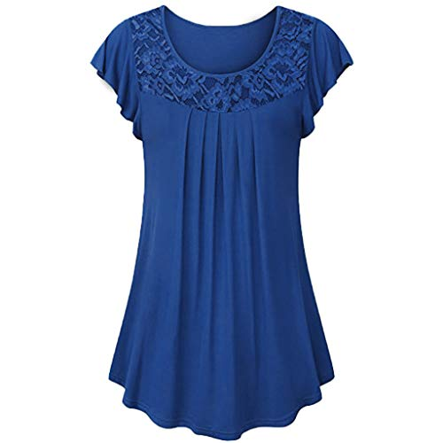 TWGONE Tunic T Shirts for Women Short Sleeves Ladies Solid Lace Patchwork Ruched Blouse Tops Shirt (Navy,Small)