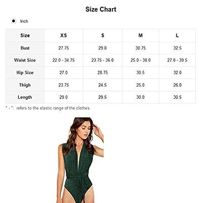 Verdusa Women's Sleeveless Sexy Deep V Neck Cross Back Bodysuit at Women's Clothing store