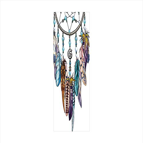 Decorative Window Film,No Glue Frosted Privacy Film,Stained Glass Door Film,Ornate Dreamcatcher with Feathers and Gemstone Figures Astrology Spiritual Symbol,for Home & Office,23.6In. by 78.7In Multic ()