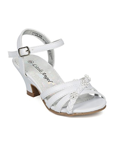 Alrisco Girls Ankle Strap Kiddie Heel Sandal (Toddler/Little/Big Girl) - Rhinestone Flower Kids Dress - Dressy Dance Event - HC28 by Little Angel Collection - White Leatherette (Size: Toddler - Dress Shoes Pageant
