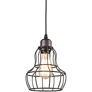 Yobo lighting minimalist 1 light oil rubbed bronze hanging pendant yobo lighting minimalist 1 light oil rubbed bronze hanging pendant light loft wire cage guard greentooth Image collections