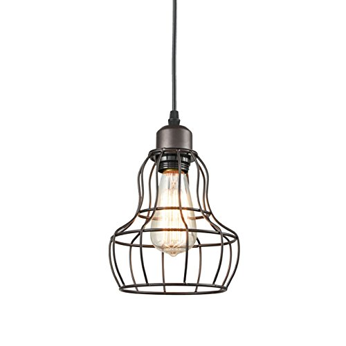 YOBO Lighting Minimalist 1-Light Oil Rubbed Bronze Hanging Pendant Light LOFT Wire Cage Guard ()