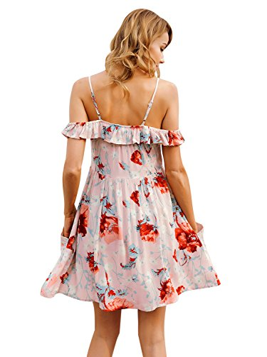 Dress Apparel Women's Floral Shoulder Short With Strap Simplee Print Pockets Ruffled 0ZSwRqZx