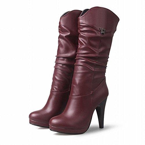 YE Damen Halbschaft Stiefel Stiletto High Heels mit Absatz 10cm Elegant Schuhe Rot