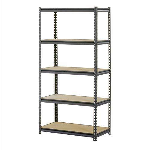 Aromzen Industrial Gray Heavy-Duty Steel Boltless Shelving Storage Rack, 1200 lb Capacity, 36