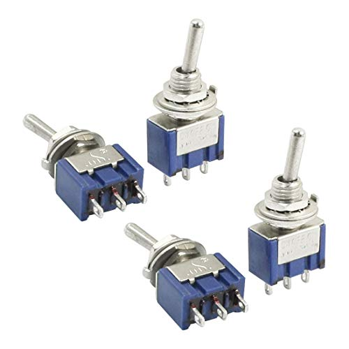 (Aexit ON-OFF-ON SPDT Control electrical Self-Locking Rocker Type Mini Toggle Switch AC 250V 2A Blue 4pcs)