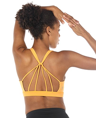 icyzone Padded Strappy Sports Bra Yoga Tops Activewear Workout Clothes For Women (S, Banana Cream)