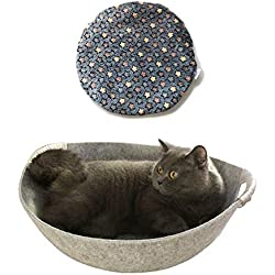 simoce Natural Wool Shaped Felt Cat Round Bed with Reinforced Handle 17.8L x 17.8W x 6.7H Washable Sleep Rest Breathable Indoor Cozy Pot Replaceable Mat. (Grey, Special)