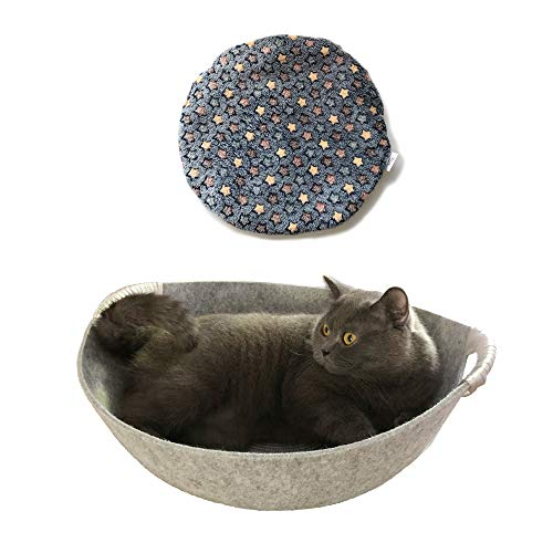 simoce Natural Wool Shaped Felt Cat Round Bed with Reinforced Handle 17.8L x 17.8W x 6.7H Washable Sleep Rest Breathable Indoor Cozy Pot Replaceable Mat. (Grey, Special) ()
