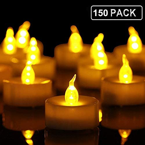 Tea Lights,150 Pack Flameless LED Tealight Candles Realistic and Bright Flickering Led Bulb, Battery Operated LED Tea Lights Candles. Ideal for Parties, Weddings, Birthdays, Gifts and Home.