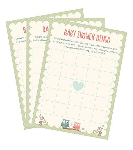 Owl Woodland Gender Neutral BINGO Baby Shower Game - 24 count (Baby Shower Bingo Owl)
