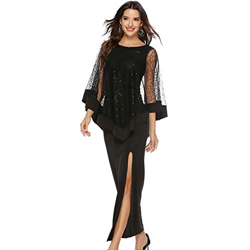Women Mesh Sequined Overlay Poncho Dress Chiffon High Slit Maxi Pencil Dress for Evening Party (Black, XL) ()