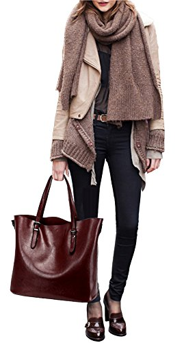 Dreubea Women's Soft Leather Handbag Hobo Crossbody Purse Tote Shoulder Bag Dark Red by Dreubea (Image #6)