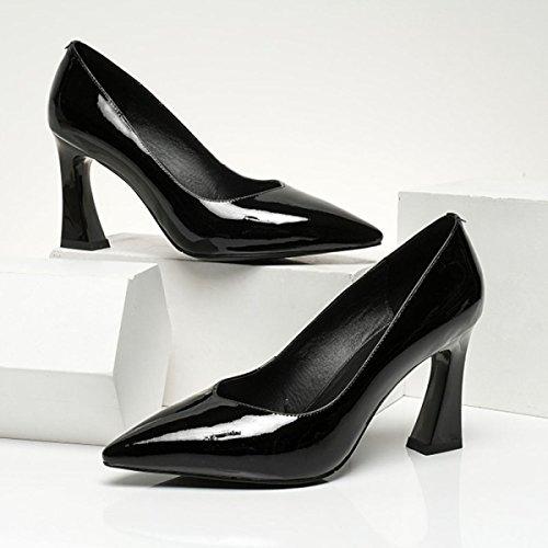 Chaussures à Talons Hauts De Femmes Pour Le Travail Quotidien Pompes De Bureau Femmes En Cuir Verni Talons épais Femme Printemps Chaussures Peu Profondes Black cTxqcFcfGY
