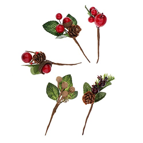 Baoblaze 5 Pieces Artificial Flower Red Berries Pine Cones Home Wedding Party Favors Decorations Table Centrepieces DIY Greeting Card, Invitation Card, Gift Box Decor, 10X5CM