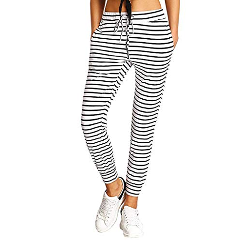 Botrong Pants for Women Casual Striped Drawstring Jogger Yoga Pants with Pocket (Multicolor,S) ()