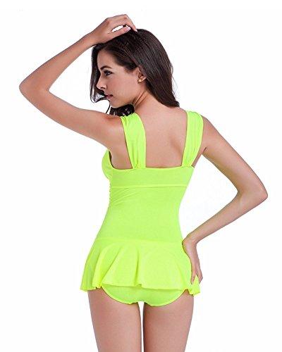 Moollyfox Para Mujeres Falda Del Sólido Baño De Una Sola Pieza Beachwear Bañadores Amarillo