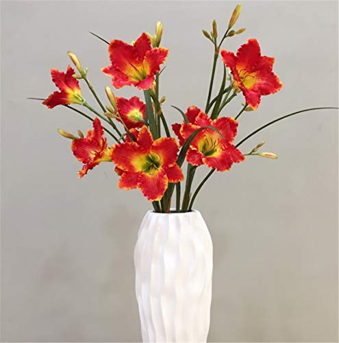Skyseen 3Pcs Artificial Tiger Lily Hemerocallis fulva - Natural Silk Flowers for Bridal Bouquet, Home Decoration, DIY, Arts & Crafts Project, Garden, Office Decor, Centerpiece Décor - Red