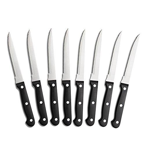 8 Triple Rivet 4.5'' Steak Knife Set, Black by WIN HOUSE (Image #1)
